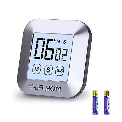 GEEKHOM Temporizador de Cocina, Temporizador Magnético con 2 Baterías GRATIS, Temporizador Digital con Cronómetro