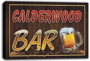scw3-015404 CALDERWOOD Name Home Bar Beer Mugs Stretched Canvas Print Sign
