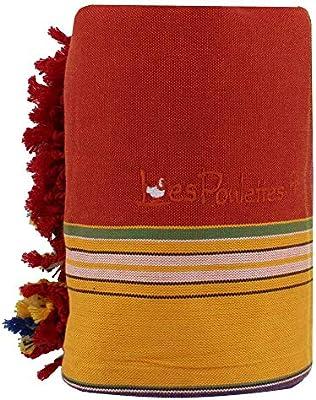 LES POULETTES Kikoy Toalla de Playa de Algod/ón Color Rojo Naranja Esponja Amarillo