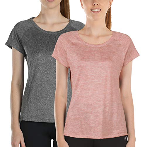(icyzone Workout Running Shirts for Women - Fitness Gym Yoga Exercise Raglan Short Sleeve T Shirts (M, Charcoal/Cameo Pink))