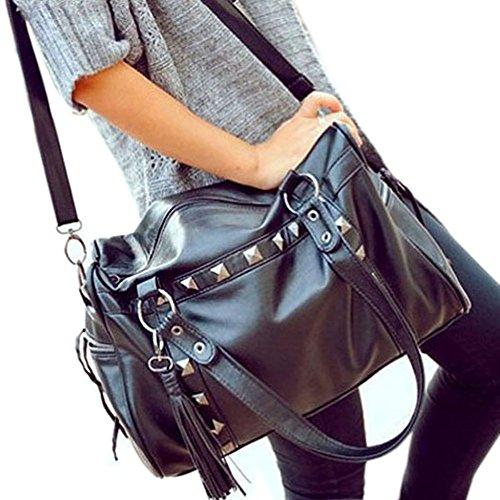 DELEY Bag Europe Rivet Black Womens Shoulder Tassels Tote Style Messenger Fashion rwxUPE0r