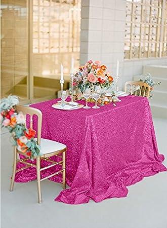 shinybeauty lentejuelas Mantel Color Fucsia – 225 x 225 cm, espacio, mesa brillo lentejuelas