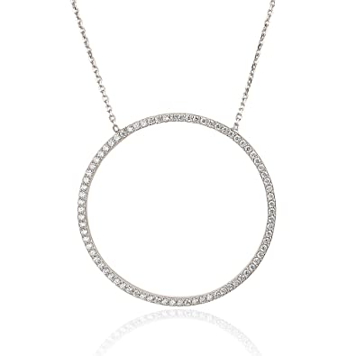 Ingenious Jewellery Sterling Silver Plated Necklace with Open Pave Circle Pendant of 41.5-45cm 9FTg6
