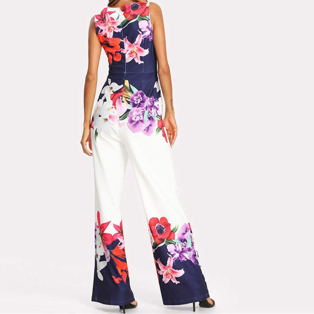 Ladies Elegant Romper Playsuit Back Zipper Sleeveless Wide Leg Pant TLoowy-Clearance Summer Womens Floral Print Jumpsuit