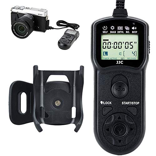 JJC Wired Timer Remote Shutter Release Control & Clip Holder for Fujifilm X-E1 X-S1 FinePix HS35EXR HS33EXR HS30EXR HS28EXR HS25EXR HS22EXR HS20EXR S205EXR S200EXR S9600 S9500 S9100 IS-1 as Fuji RR-80