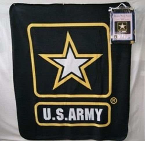 Black U.S. Army Star 50x60 Polar Fleece Blanket Throw (Licensed) (Army Fleece Throw)