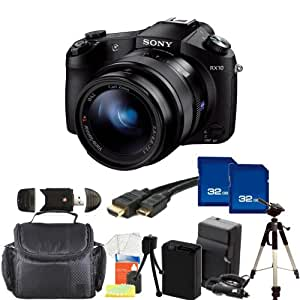 Sony Cyber-shot DSC-RX10 Digital Camera Kit.Includes: 2X 32GB Memory Cards, Extended Life Replacement Battery, Mini HDMI Cable, Full Size Tripod, Carrying Case & More