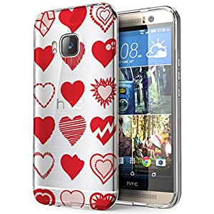 c0198 - Different Shapes Red Love Hearts Design htc One M8 Fashion Trend CASE Gel Rubber Silicone All Edges Protection Case Cover