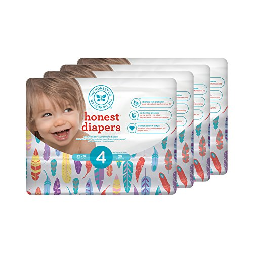Honest Baby Diapers, Painted Feathers, Size 4 (116 Count)