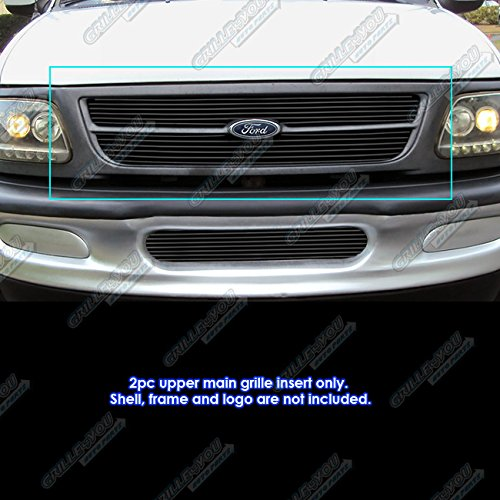 Fits 1997-1998 Ford Expedition//F-150//F-250 Bar Style Upper Billet Grille
