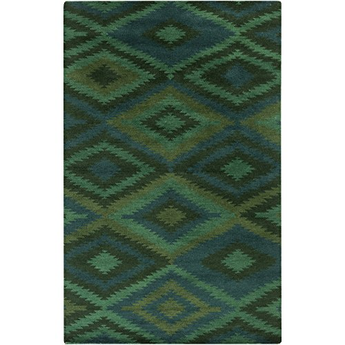 (Surya MES9001-23 Hand Knotted Casual Accent Rug, 2 by 3-Feet, Teal/Emerald/Kelly Green/Forest)