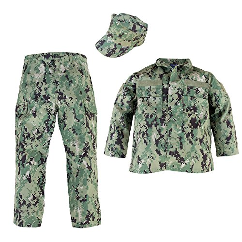 TC Kids U.S. Navy NWU III Navy Work Uniform 3 Piece with AOR II Camo (Medium)