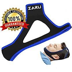 PREMIUM Anti Snore Chin Strap by ZARU [UPGRADED VERSION] - Advanced Snoring Aid Scientifically Designed To Stop Snoring Naturally and Give You The Best Sleep of Your Life! (Fits Most)