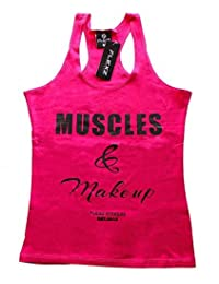 Muscles and make up muscle tank top gym crossfit women pink Yoga Fitness workout