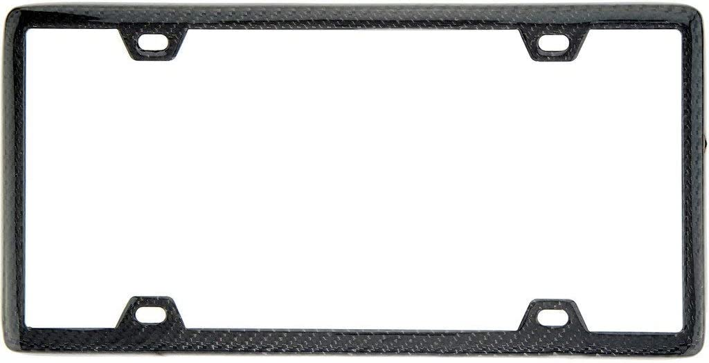 BLVD-LPF OBEY YOUR LUXURY 100% Real Carbon Fiber License Plate Frame with Slim 4 Holes & Matching Screw Caps | Black License Plate Cover Holder | 1 Frame