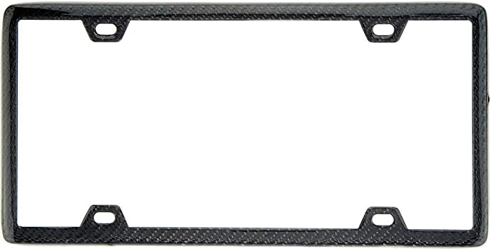 Real Carbon Fiber License Plate Frame TAG COVER 2 Screw Caps BLACK