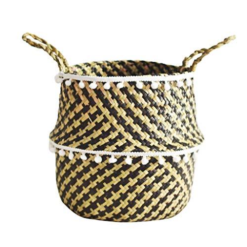 - Sacow Seagrass Wicker Basket Flower Pot Folding Basket Dirty Basket Storage Decoration (C:32×28cm)