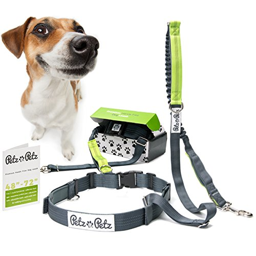 Hands-Free-Dog-Leash-Adjustable-Leash-and-Belt-for-Running-and-Walking-with-Retractable-Reflective-Bungee-cord-and-Dual-green-Handle-Leash-4-to-6-feet-Waist-23-to-55