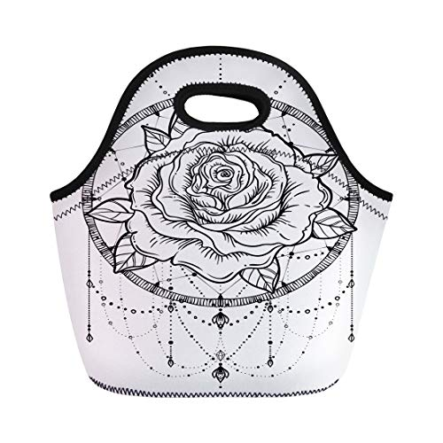 Semtomn Lunch Tote Bag Dream Catcher Rose Flower Detailed White Blackwork Tattoo Flash Reusable Neoprene Insulated Thermal Outdoor Picnic Lunchbox for Men Women