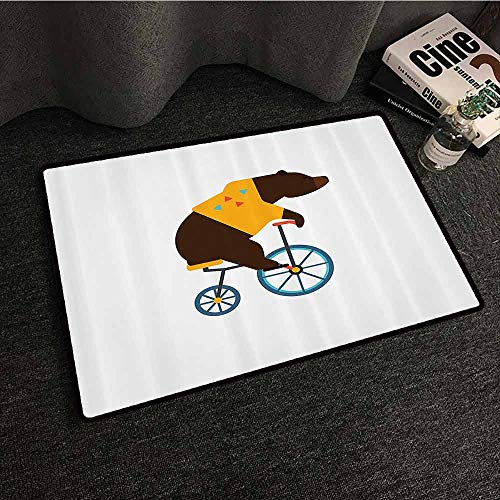 Bicycle Non-Slip Door mat Big Teddy Bear Icon of Circus Riding Bicycle with Hipster Costume Animal Image Breathability W30 xL39 Brown Yellow]()