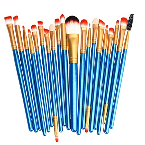 Tsmile 20 pcs Makeup Brush Set tools/For Perfect Application For Eyebrow/Blush/Foundation/Contour Make-up Toiletry Kit/Wool Make Up Brush Set (Blue) (Makeup 50 Cents)