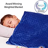 Supersoft 5 Lbs Calming Weighted Blanket for Kids - 36' x 48' Children Heavy Blanket with Minky Cover - Blue Kid Comfort Sensory Blankets for Boys
