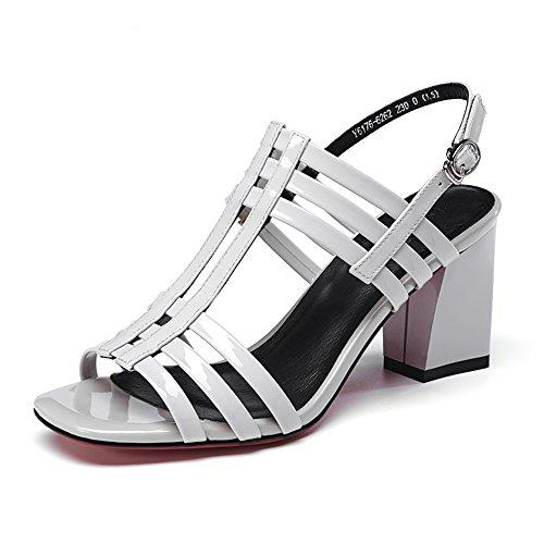 Sandals ZHIRONG Summer Women's High Heel Fashion Single Buckle Open Toe Thick Heel Roman Shoes Fish Mouth Shoes 7CM (Color : White, Size : EU37/UK4.5-5/CN37) White