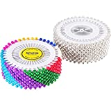 #2: Boao 960 Pieces Round Head Pin Set Pearl Imitation Head Pins Floral Sewing Pin Dressmaking Pin for Craft Sewing DIY, Assorted Colors