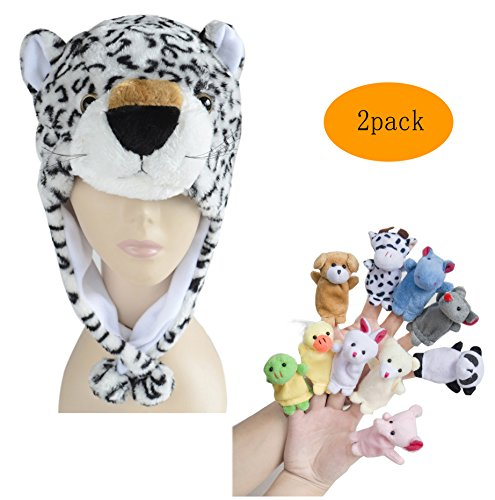 [Pulama Winter Animal Beanie Hats, Short Cartoon Caps with 10 Finger Puppets (Snow Leopard)] (Snow White Props)