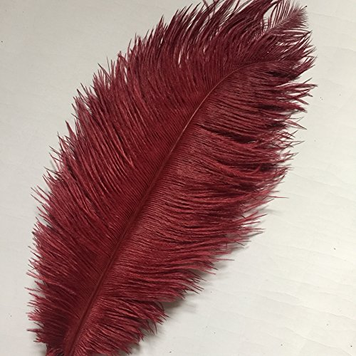 Sowder 10pcs Ostrich Feathers 12-14inch(30-35cm) for Home Wedding Decoration (burgundy) - Ostrich Feathers Hats Crafts