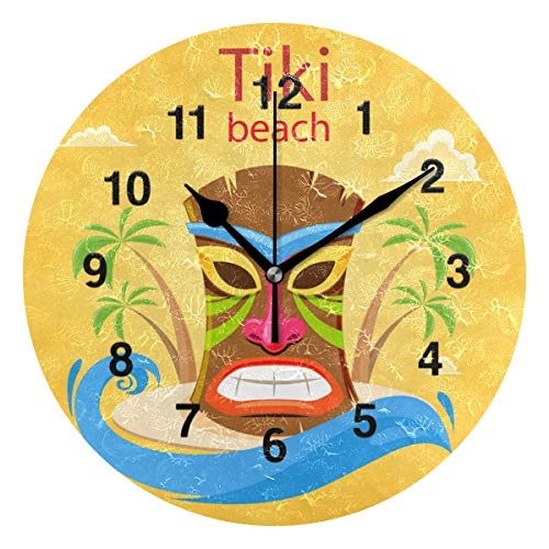 Jojogood Colorful Tiki Mask On The Island Clock Wall Decor Acrylic Decorative Round Clock for Home Bedroom Living Room Art ()