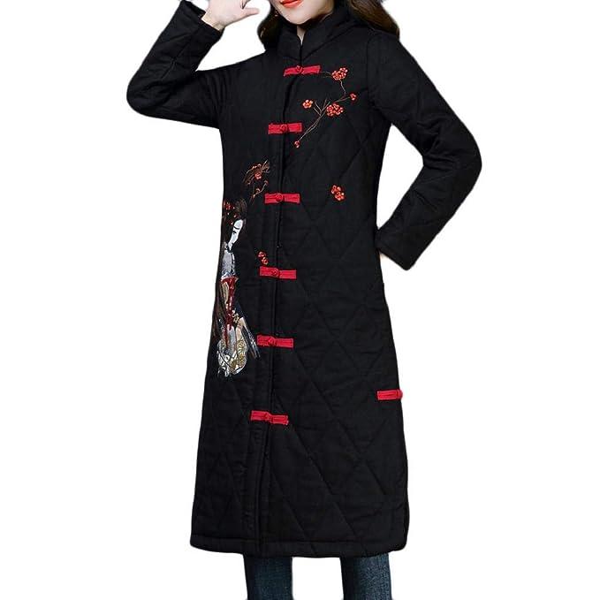 Luckycat Abrigo de Invierno de Talla Grande para Mujer Folk-Custom Cotton-Padded Impresión