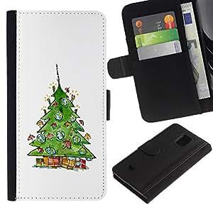 Paccase / Billetera de Cuero Caso del tirón Titular de la tarjeta Carcasa Funda para - Tree Winter Santa White - Samsung Galaxy S5 Mini, SM-G800, NOT S5 REGULAR!