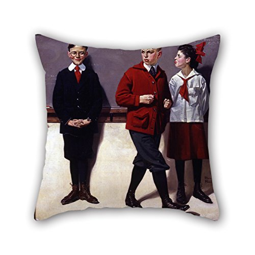 Oil Painting Norman Rockwell - Cousin Reginald Spells Peloponnesus (Spelling Bee) Pillow Covers 18 X 18 Inches / 45 By 45 Cm For Gf Bedding Bar Dining Room Bedroom Teens Girls With Twin Sides