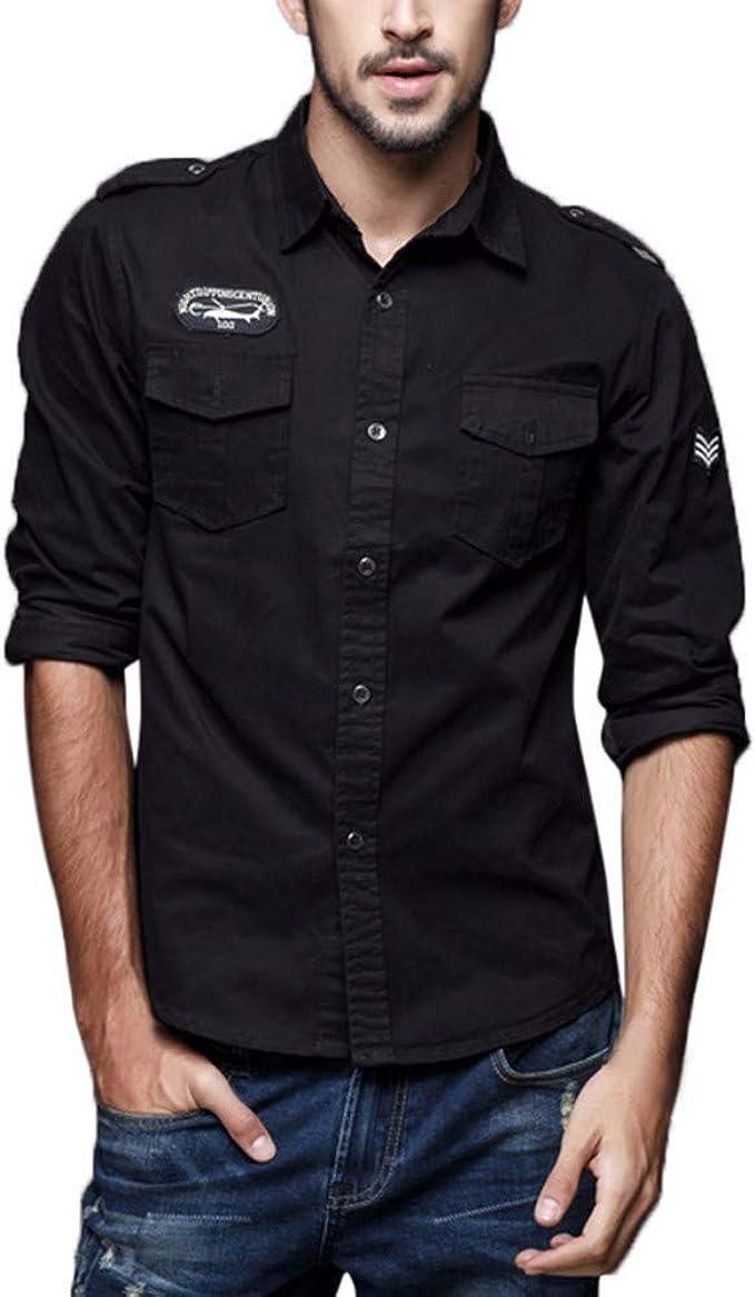 DOGZI Camisas Militar Hombre - Manga Larga Casual Slim Fit botón Militar Bolsillo Ropa de Trabajo Camiseta: Amazon.es: Ropa y accesorios