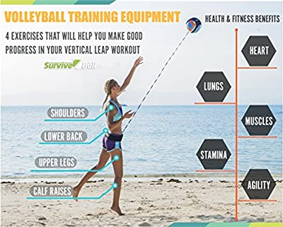 SurviveBall Volleyball Training Equipment Aid – Practice Overhand Serve, Spike, Arm Swings, Hitting. Adjustable Waistband – eBook & Video - Includes 60 & 100 in. Adjustable Cords from SurviveBall