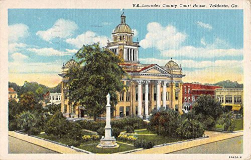 Valdosta Georgia Lowndes Court House Birdseye View Antique Postcard - Stores Valdosta In