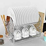 2 Tier Heavy Duty Stainless Steel Drying Rack Non-rust Holder Dish Rack Holder Set with Accessory Drain Board for Spoon Dish Cup Chopsticks for Home Kitchen[ARRIVE in 3-7 DAYS]