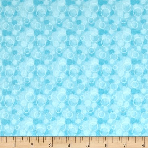 - A.E. Nathan Flannel Tossed Bubbles Aqua Fabric By The Yard