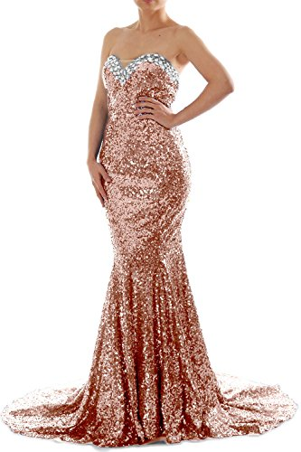 MACloth Women Mermaid Strapless Sweetheart Sequin Long Prom Dress Evening Gown Rose Gold