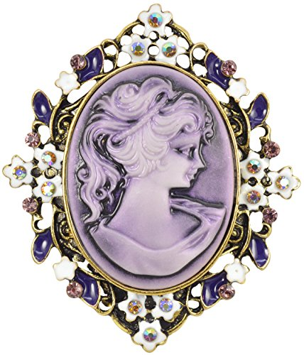 Floral Cameo Pin - Gyn&Joy Vintage Purple Cameo Victorian Lady Maiden Flower Crystal Rhinestone Brooch Pin