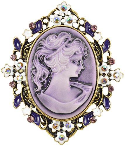 - Gyn&Joy Vintage Purple Cameo Victorian Lady Maiden Flower Crystal Rhinestone Brooch Pin