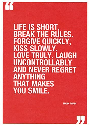 Amazon Com Mark Twain Quote Life Is Short Tree Free Greetings Birthday Card Office Products