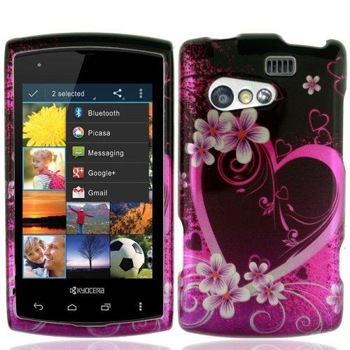 Bundle Accessory for Sprint, Virgin Mobile Kyocera Rise C5155 - Purple Heart Designer Hard Case Protector Cover + Lf Stylus Pen + Lf Screen Wiper