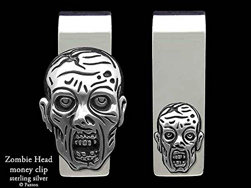 Zombie Head Money Clip in Solid Sterling Silver Hand Carved, Cast & Fabricated by Paxton by Paxton Jewelry