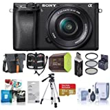 Sony Alpha a6300 Mirrorless Digital Camera Body, Black 16-50mm E-Mount Lens - Bundle w/ 32GB Class 10 SDHC Card, Case, 40.5mm Filter Kit, Spare Battery, Cleaning Kit, Software Package More
