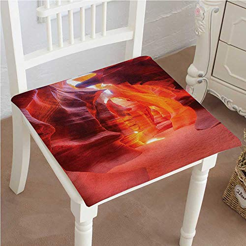 (Mikihome Chair Pads Squared Seat Decor Collection Sunbeam in Antelope Canyon Rocks and Sand Cave Picture Accessories Orange Outdoor Dining Garden Patio Home Kitchen Office)