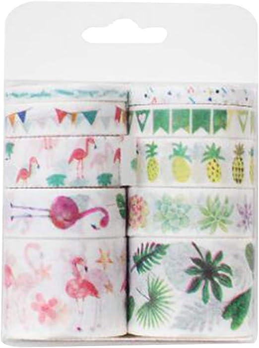 Toyvian 10 unids/pack Washi cintas adhesivas de dibujos animados pegatinas decorativas cintas de papel pegajoso para Scrapbook DIY diario envoltura de regalos (flamenco): Amazon.es: Hogar