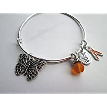 Leukemia or MS Awareness adjustable bangle bracelet with orange ribbon charm and butterfly charm