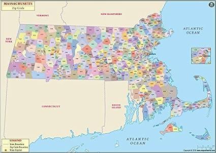 Amazon.: Massachusetts Zip Code Map   Laminated (36